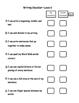 Writing Checklists for students - Kindergarten - 5th