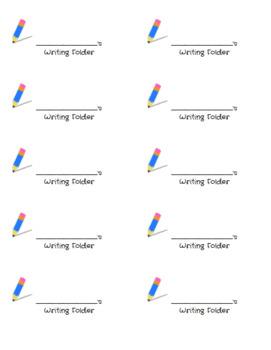 Student Writing Folder Labels (Outside of Folder)