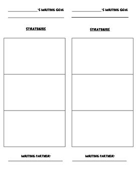 Student Writing Goal and Strategies- Bookmark