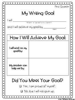 Student Writing Self-Assessment and Goals