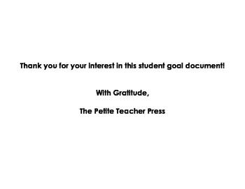 Student Writing Goals