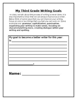 Student Writing Goals Reflection Sheet (Editable)