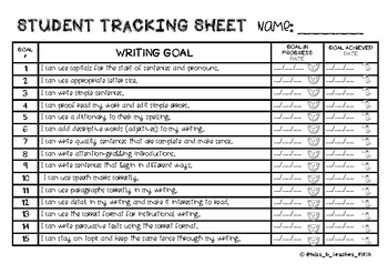 Student Writing Goals (Tropical Theme)