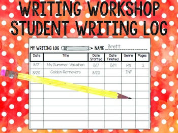 Student Writing Log FREEBIE