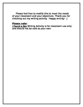 Student Writing Organizer - Key Activity