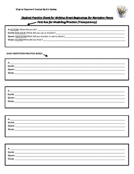 Student Writing Practice Sheet for Super Beginnings (Narrative)