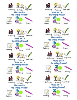 Student Writing Process Tracking Cards