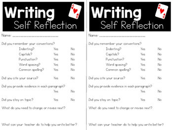 Student Writing Reflection Card