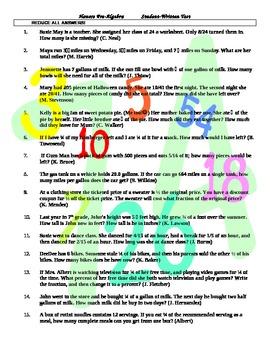Student-Written FRACTIONS test