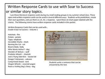 Student Writtten Response to Text Cards and Exit Tickets