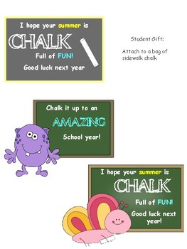 Student Year End Gift Tag- Chalk it up to an amazing school year