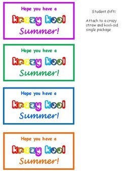 Student Year End Gift Tag- Krazy Kool