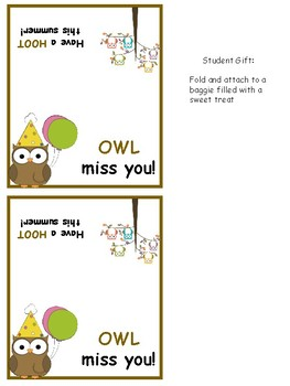 Student Year End Gift Tag- Sweet Treats
