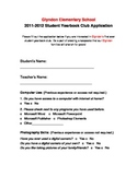 Student Yearbook Club Application (Elementary)