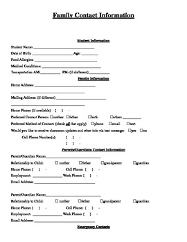 Student and Family Contact Information (Editable Word Document)