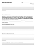 Student and Family Introduction Letter