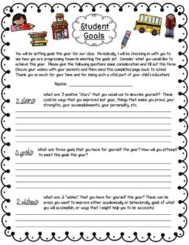 Student and Parent Beginning of the Year Goal Sheets
