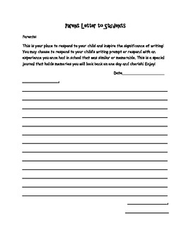 Student and Parent Fourth Grade Writing Journal