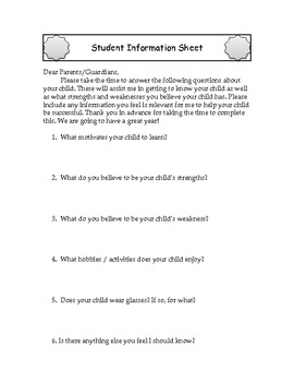 Student and Parent Information Forms