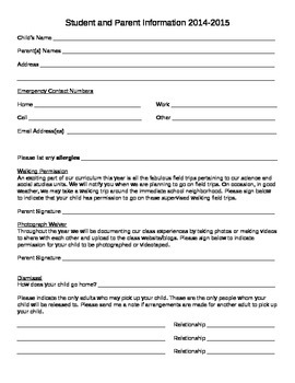 Student and Parent Information Sheet, Beginning of the Year Information Form