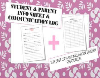 Student and Parent Information Sheet & Communication Log (Editable)
