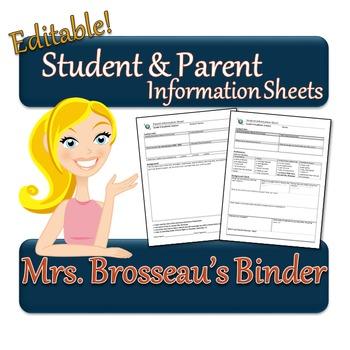 Student and Parent Information Sheets - Editable