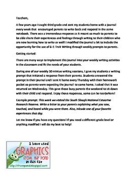 Student and Parent Third Grade Writing Journal