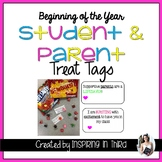 Student and Parent Treat Tags for Beginning of the Year