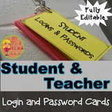 Student and Teacher Account Login and Password Cards