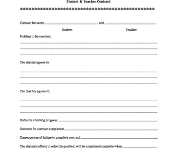 Student and Teacher Contract