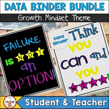 Student and Teacher Data Binder Bundle (Editable) Growth Mindset Theme