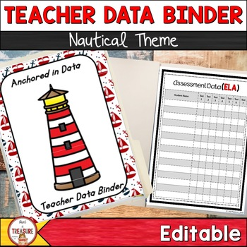 Student and Teacher Data Binder Bundle (Editable) Nautical Theme