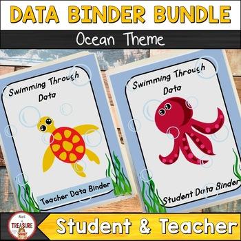 Student and Teacher Data Binder Bundle (Editable) Ocean Theme Class Decor