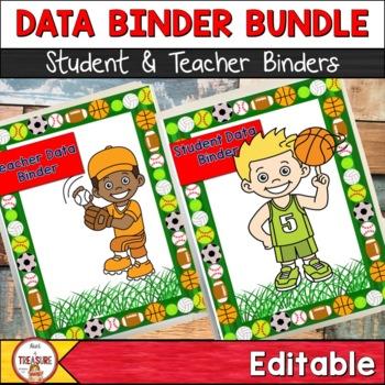 Student and Teacher Data Binder Bundle (Editable) Sports Theme