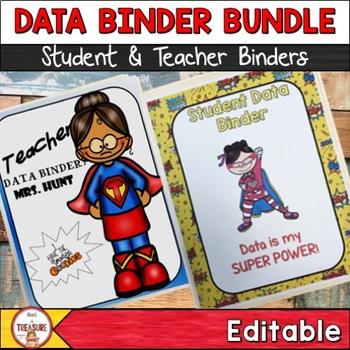 Student and Teacher Data Binder Bundle (Editable) Superhero Theme