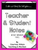 Student and Teacher Notes