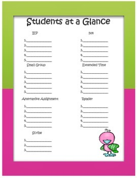 Student at a Glance Form - 504 and IEP