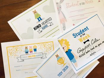 Student award - 8 award theme set, character awards