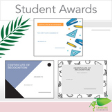 End of Year Student award certificates middle and high school