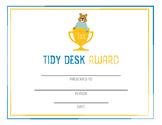 Student award - tidy desk, clean desk, printable awards, character trait award