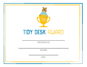 Student award - tidy desk, clean desk, printable awards, character trait award