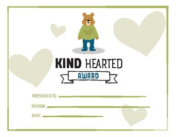 Student award - kind hearted award, printable awards, character trait award