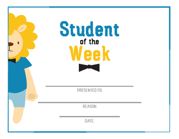Student award - student of the week, printable awards, character trait award