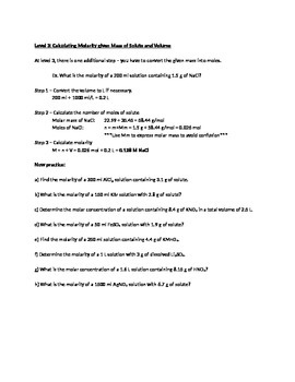 Student-centered Molarity Worksheet