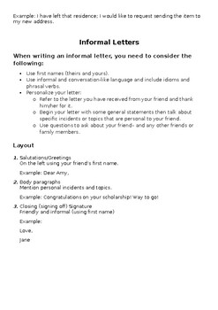 Student-centered: Writing Letters BUNDLE! Formal & Informal (Editable)