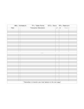 Student checkbook register