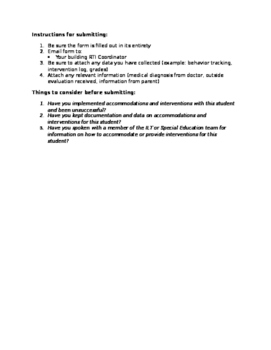Student concern referral form - Response to Intervention (RTI)