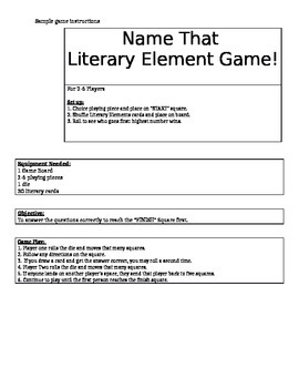 Student created games to teach literary elements