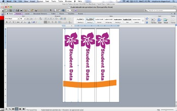 Student data binder spine label- flowers
