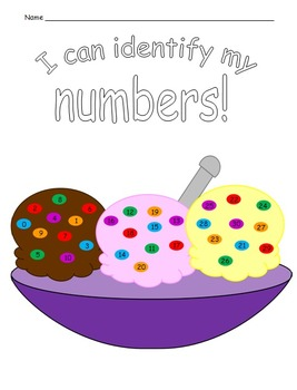 Student  data sheet for number identification